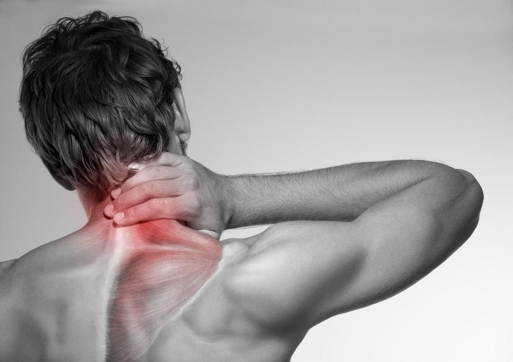 Man having pain in neck